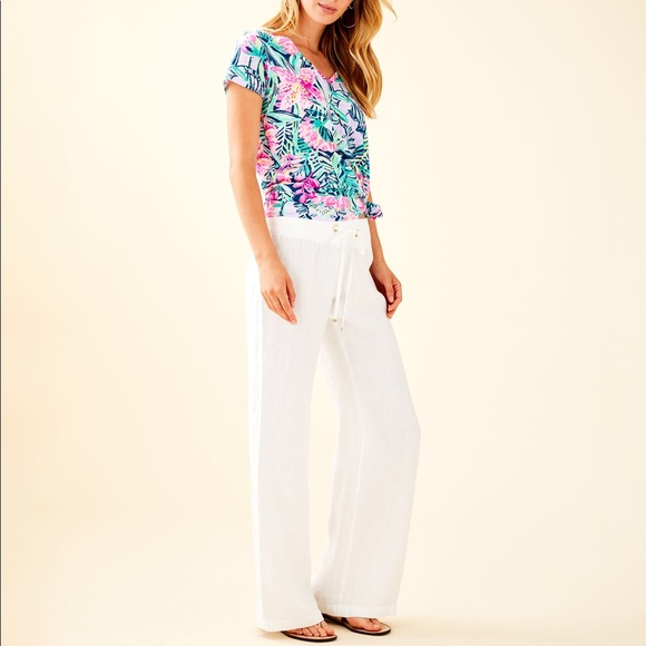 5693c3e233 Lilly Pulitzer Pants - Lilly Pulitzer White Linen Beach Pants